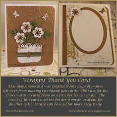 A note card or thank you card created using scraps of patterned papers.