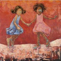 Two Girls, Rebecca Kinkead African American Art, African Art, American History, Kunst Online, Portraits, Whimsical Art, Museum, Beautiful Artwork, Figurative Art
