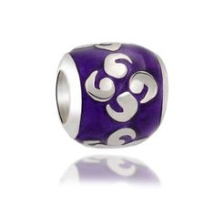 Bling Jewelry Sterling Silver Purple Enamel Celtic Swirls Zen Bead Fits Pandora