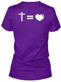 Cross Is Love - Purple  T-Shirt Back. Teespring