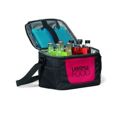 Lakeside Cooler. The Lakeside Cooler is great for tailgating events or a simple summer picnic! The insulated main compartment with zippered closure can hold up to 18 cans, and the adjustable shoulder strap allows for easy travel.