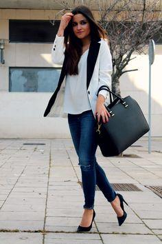 black & white blazer, jeans and black heels