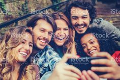 Group of friends making selfie royalty-free stock photo