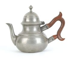 "Pook & Pook.  November 11th & 12th 2011.  Lot 545.  Estimated: $20K - $40K. Realized Price: $23700. Philadelphia pewter teapot, ca. 1770, bearing the touch of William Will, 6 1/4"" h."