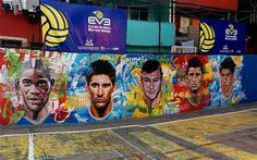 Brazil's Beautifully Painted Streets Wall Mural Welcome World Cup 2014 Fans Street Football, Football Art, Brazil World Cup, World Cup 2014, Soccer Cup, Carnival Of The Animals, Soccer Inspiration, South American Countries, Banner Images