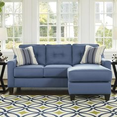 The Benchcraft Aldie Nuvella Sofa Chaise gives you customizable seating to fit your space perfectly. This sofa chaise has a movable ottoman and chaise. Blue Sectional, Small Sectional, Sleeper Sectional, Chaise Sofa, Blue Couches, Sofa Beds, Family Room Furniture, Home Furniture, Outdoor Furniture