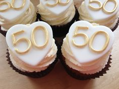 golden anniversary cakes and cupcakes 40th Anniversary Cakes, Golden Anniversary Cake, Anniversary Parties, Aniversary, Wedding Cupcakes, Wedding Favors, Party Ideas, Traditional Wedding, Cups