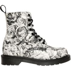 DR.MARTENS 30mm Skull & Roses Printed Canvas Boots found on Polyvore