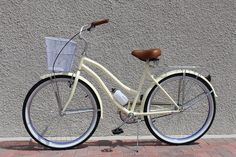Simply Chic, this cream colored beach cruiser is perfect for riders who like simplicity and sophistication. Classically styled cruiser frame allows the rider to cruise around town in style and comfort. Crème brulee beach cruiser comes fully accessorized with front basket, rear cargo rack, water bottle and holder.