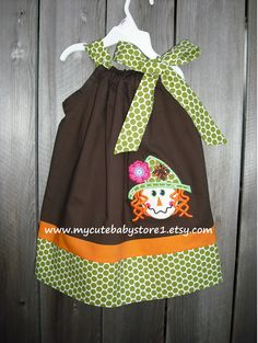 Fall and Thanksgiving collection,  Scarecrow Pillowcase Dress. $28.00, via Etsy.