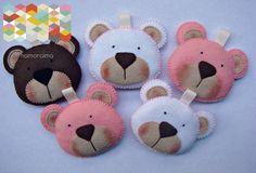 Ours en feutrine Porte-clés animaux de couleurs : Porte clés par hamoraima