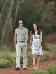 April 2014 In a rare casual moment, William donned khakis and a utility style shirt while Catherine wore a patterned dress.