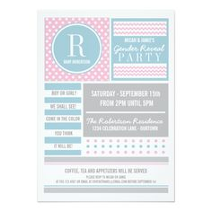 "Pink and Blue Gender Reveal Party Invitation 5"" X 7"" Invitation Card"