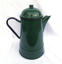 Enamelware Coffee Pot Emerald Green Mid Century Large 3.5