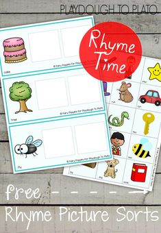Rhyming Picture Mats - Free Printables To Plato Rhyming Activities, Kindergarten Literacy, Language Activities, Phonics Games, Jolly Phonics, Early Literacy, Sight Words, Rhyming Words, Task Cards