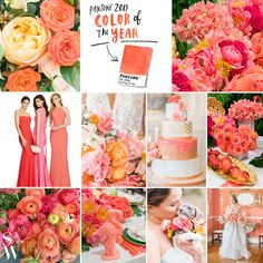 Hello, Living Coral We think we're going to have a juicy crush on you. What do you think of today's Pantone announcement? Coral Wedding Themes, Summer Wedding Colors, Wedding Reception Decorations, Wedding Color Schemes, Spring Wedding, Wedding Mandap, Stage Decorations, Wedding Stage, Wedding Receptions