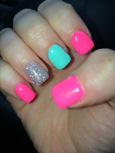 Pink and teal cute summer nails minus the sparkle
