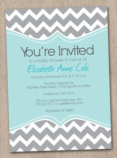 Blue and Grey Chevron Invite- totally doing this for my birthday in July!