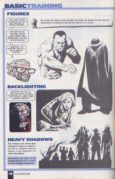 Scan from Wizard Magazine 147. Basic Training: Part 5 of 6 Joe Kubert shows how to do lighting. p118