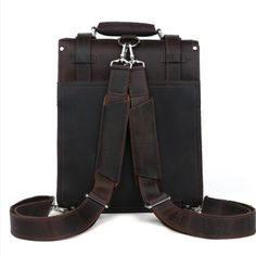 Handmade Leather Backpack /Vintage Leather Macbook Briefcase 2-in-1 Leather School Bag Backpack (C139) - Thumbnail 1
