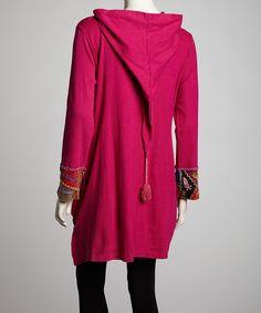 floral zip Hoodie | Pink Floral Sprout Long Zip-Up Hoodie