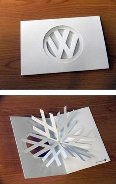 #VW logo #Christmas card open it is a snowflake Very clever