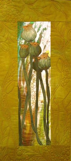 Textile Gallery - Nancy Dobson Textile Artist Love the quilting on this piece! Textile Fiber Art, Textile Artists, Quilting Projects, Quilting Designs, Art Quilting, Quilt Art, Landscape Art Quilts, Creation Art, Flower Quilts