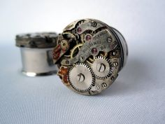 Pair of One of a Kind Steampunk Plugs - Antique Watch Movement - Steam Punk Gauges - Handmade OOAK - - by WhimsyByKrista on Etsy Plugs Earrings, Gauges Plugs, Best Friend Gifts, Gifts For Friends, Ear Piercings, Septum, Body Jewelry, Jewlery, Steampunk Earrings