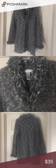Nine West* long sweater Charcoal and light grey long knit sweater. Knit loop trim collar cuffs and hem. 34 wool. 33 nylon. Hook and eye closure in front to either leave open or closed Nine West Sweaters