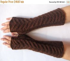 Fingerless Gloves Brown 9 Mittens arm warmers Knit Soft