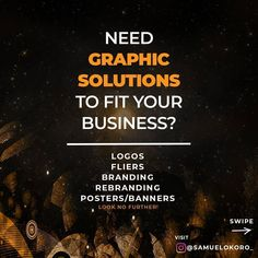 Need Graphic Solutions for your business?  You need help with logo designs, fliers, posters and banners  Branding and branding.  Your business my business!  Go for it by sending me a DM for assistance.  #business #logo #logodesign #branding #fliers #posters #banners #freelancegraphicdesigner #freelancegraphicdesign Freelance Graphic Design, Business Logo, Banners, Logo Design, Branding, Posters, Logos, Brand Management, Banner