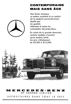 1960 Mercedes 220 Poster Size Advert by AtomicScrapbook on Etsy Mercedes 220, Mercedes Benz Logo, Daimler Ag, Canada, Automobile, S Class, Magazine Ads, Advertising Poster, Vintage Posters