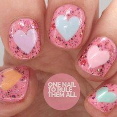 Sparkly Heart Nail Art Design