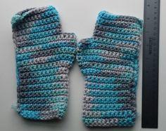 Handmade Blue and Gray Variegated Fingerless Gloves