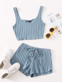 Girls Fashion Clothes, Teen Fashion Outfits, Girl Fashion, Clothes For Women, Cute Casual Outfits, Pretty Outfits, Sleepover Outfit, Womens Co Ords, Cute Sleepwear