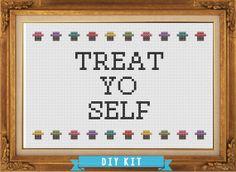 Treat Yo Self - Parks & Recreation - DIY Cross Stitch Kit