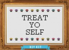 Treat Yo Self - Parks & Recreation - DIY Cross Stitch Kit