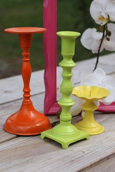Painted Brass Candlesticks - $10 (etsy)