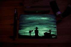 """20x30 on cavas Originals Glow in the dark """"sunset in company"""" - Painting by Crisco Art"""