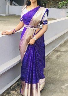 Indian Dress Bollywood Dance Performance Dresses Sri Lanka Saree Blouse India Sari for Women Clothes Sare Bangladesh Wedding Saree Blouse Designs, Pattu Saree Blouse Designs, Half Saree Designs, Fancy Blouse Designs, Wedding Sarees, Blue Saree, Designer Sarees, Woman Clothing, Fashion Clothes