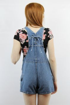 Woman in Denim Overalls Back