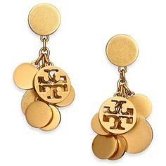 Tory Burch Logo Charm Cluster Drop Earrings