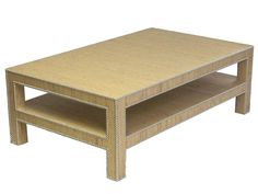 Parsons Leg Coffee Table Wrapped In Grasscloth