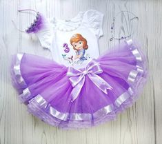 Sofia The First outfir set Birthday Tutu Outfit Lavender | Etsy