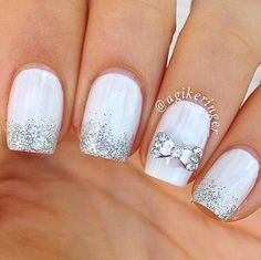 White with silver sparkle