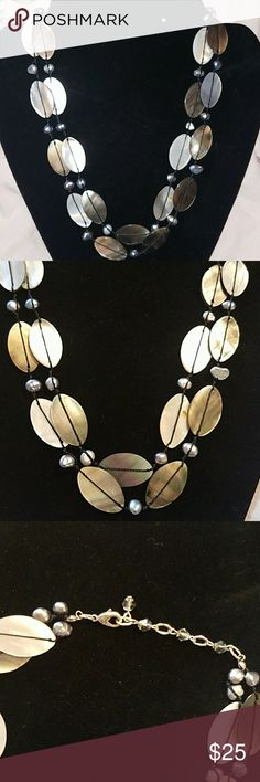 Shell And Pearl Necklace Beautiful, vintage, hand-made abalone shell, mother of pearl and pearl necklace. Double strand measures 19 inches. Jewelry Necklaces