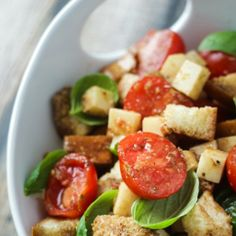 Caprese Panzanella - Toasted Bread Salad with Tomatoes, Basil, and Mozzarella.