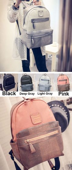 Which color do you like? Original Splicing PU Crocodile Grained Leather Large Capacity School Backpack #backpack #leather #original #crocodile  #backpack #school #college #bag #lady #rucksack #elegant #fashion #pink