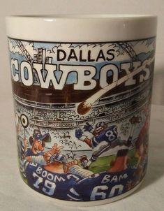 Dallas Cowboys Mug Custom Edge Inc. Team NFL Cartoon Art #DallasCowboys