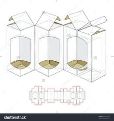 Custom Multiple Parts Box With Die Cut Template Stock Vector Illustration 336150983 : Shutterstock